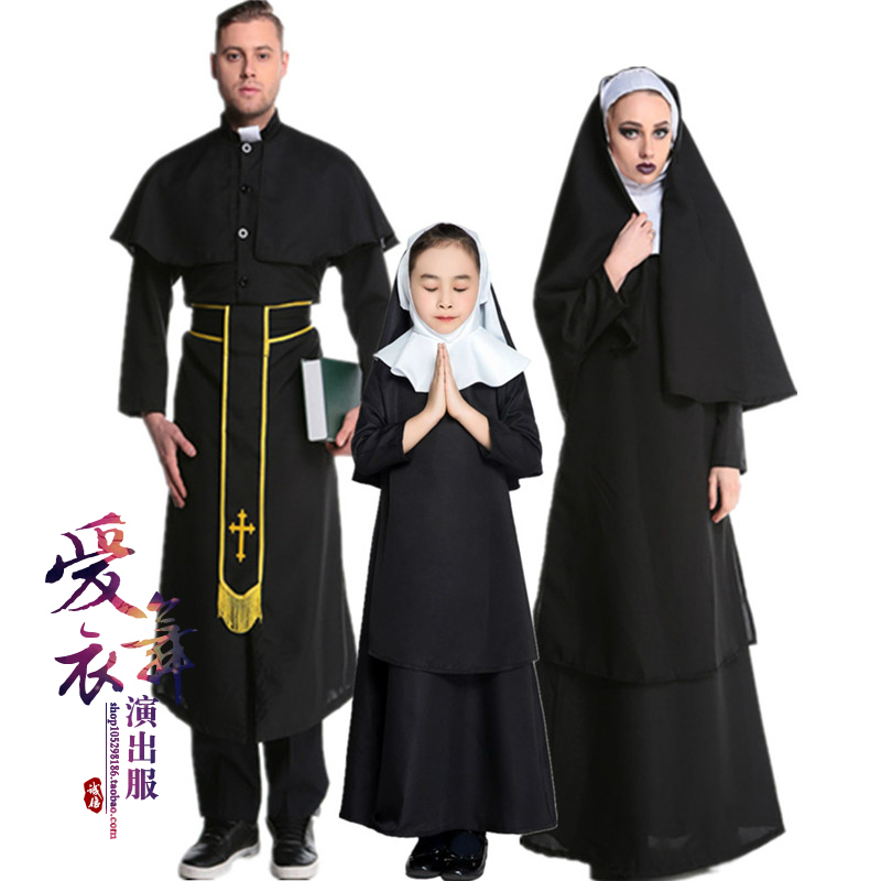 Cosplay costume Carnival nuns and nuns priests play parent-child costumes Girls Halloween costumes Christmas