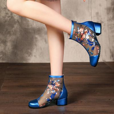 凉鞋2021年新款夏天网纱凉靴短靴