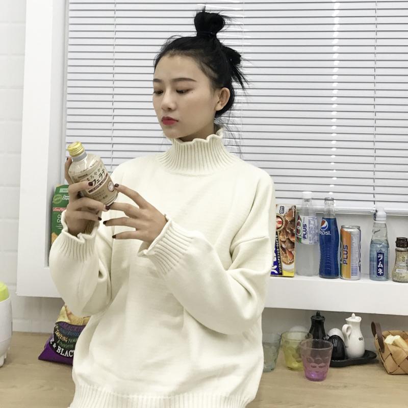 秋冬女装韩版chic宽松套头卷边高领网红打底衫针织衫外穿毛衣上衣