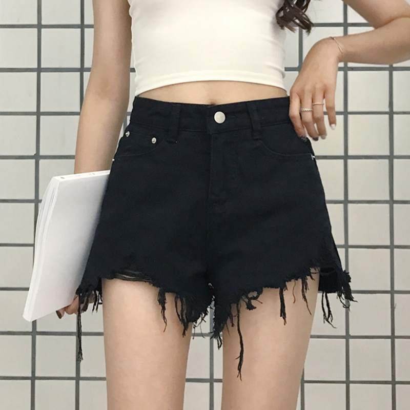 秋装女装新款韩版时尚毛边牛仔短裤高腰显瘦百搭阔腿裤学生热裤潮