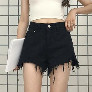 夏季女装新款韩版时尚毛边牛仔短裤高腰显瘦百搭阔腿裤学生热裤潮