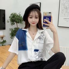 春装2020新款复古法式撞色涂鸦印花设计感小众宽松短袖衬衫女学生