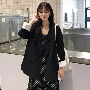 2019秋季新款韩版网红休闲小西服外套宽松中长款黑色西装上衣女图片