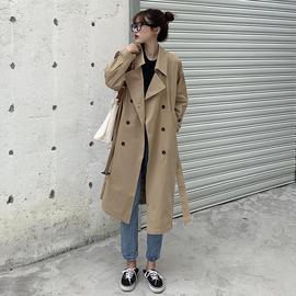 黑色风衣女中长款小个子流行韩版过膝宽松2020春秋季新款外套女潮图片