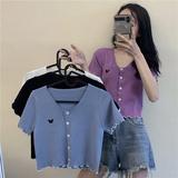 紫色蝴蝶高腰上衣短袖2020夏季新款女修身短款针织外搭开衫薄款
