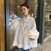 娃娃衫 上衣 衬衣女网红ins休闲百搭白色衬衫 韩版 夏季 宽松显瘦长袖