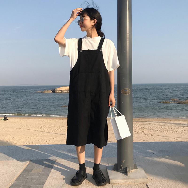 夏装女装韩版学院风宽松显瘦口袋牛仔背带裙中长款学生连衣裙长裙