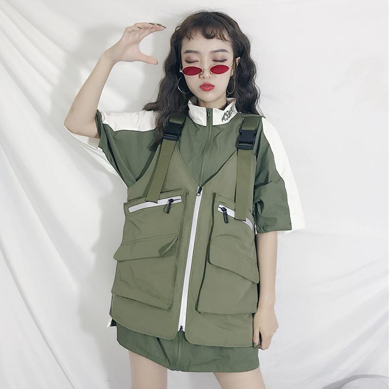 夏季女装韩版宽松中长款个性拼接立领短袖衬衫上衣+背带马甲背心