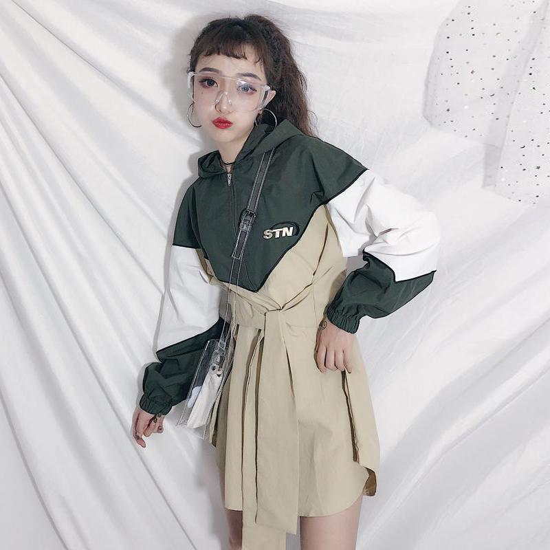 初秋女装韩版中长款宽松系带收腰连帽薄款风衣长袖休闲上衣外套潮