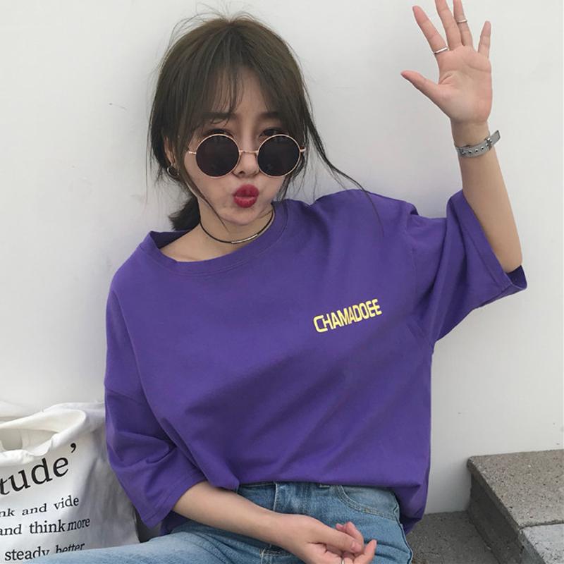 春夏女装韩版原宿风宽松百搭字母短袖紫色T恤显瘦打底衫体恤上衣