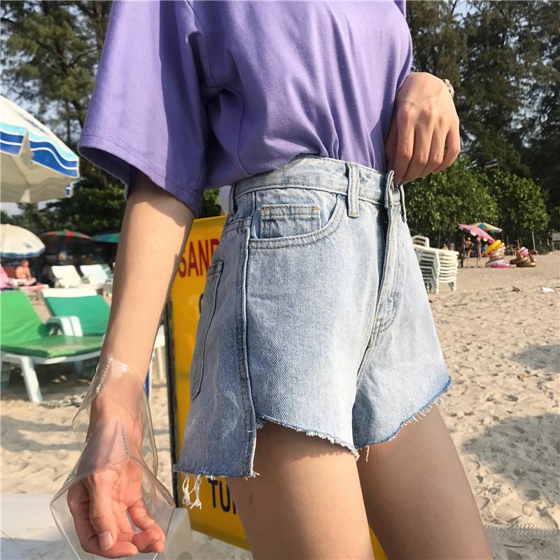 夏装女装韩版前短后长个性磨白宽松牛仔裤阔腿裤高腰显瘦热裤短裤