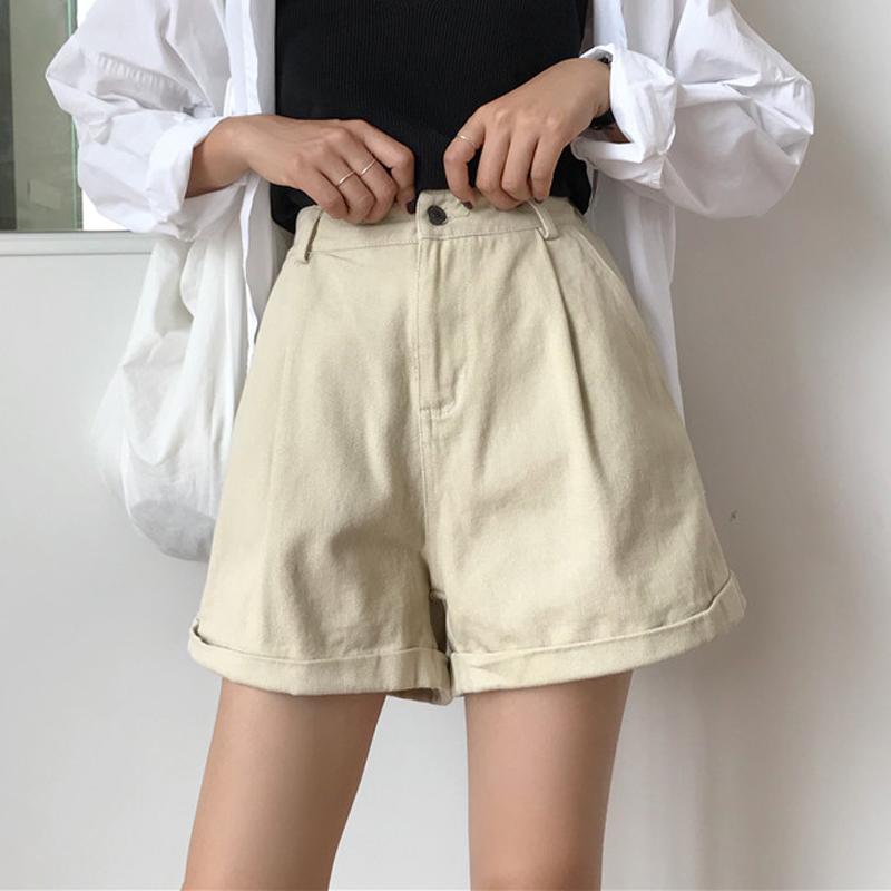 夏季女装韩版宽松卷边牛仔裤短裤高腰百搭显瘦薄款阔腿裤学生热裤