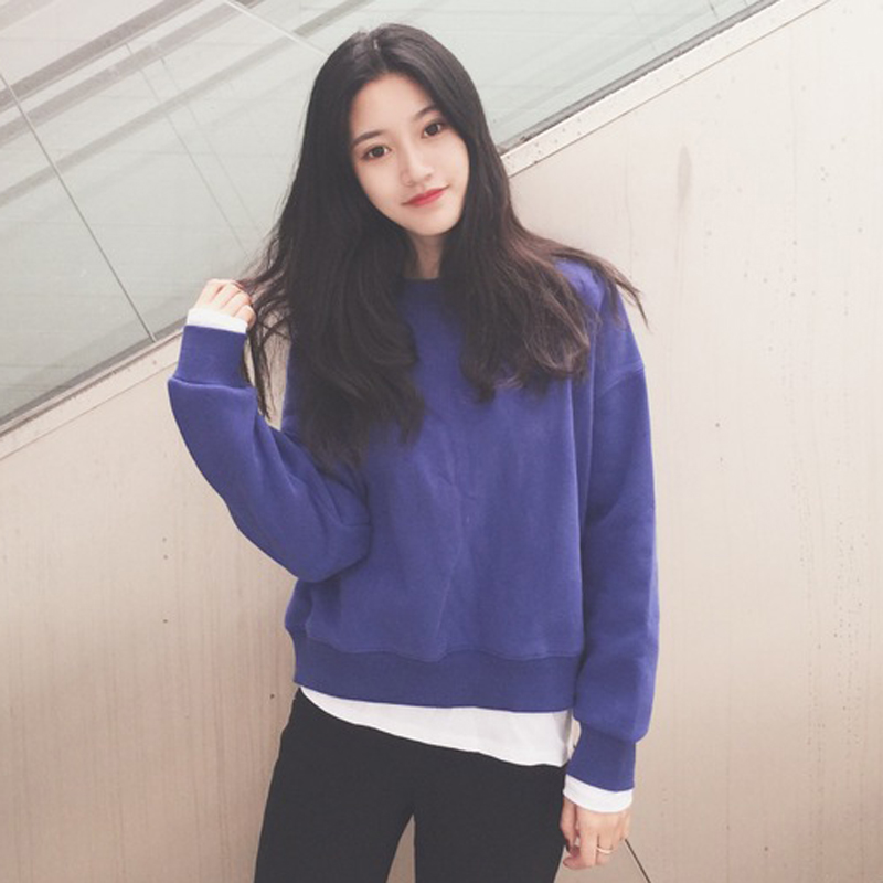 Winter Women Korean loose stitching fake two plus thick velvet pullover sweater no cap long-sleeved T-shirt student influx