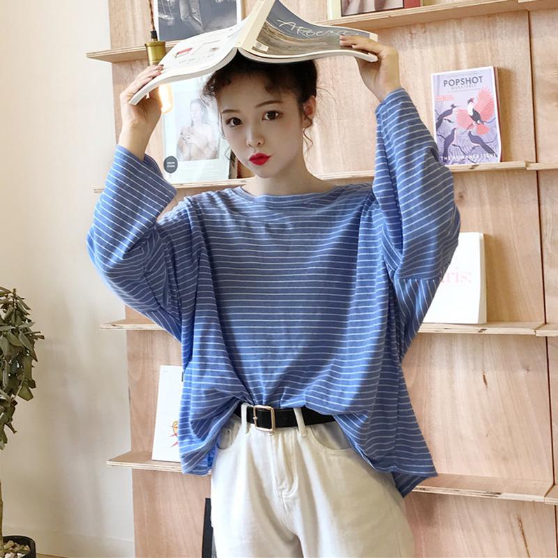 秋装女装韩版学院风宽松百搭长袖条纹t恤学生休闲显瘦体恤上衣潮