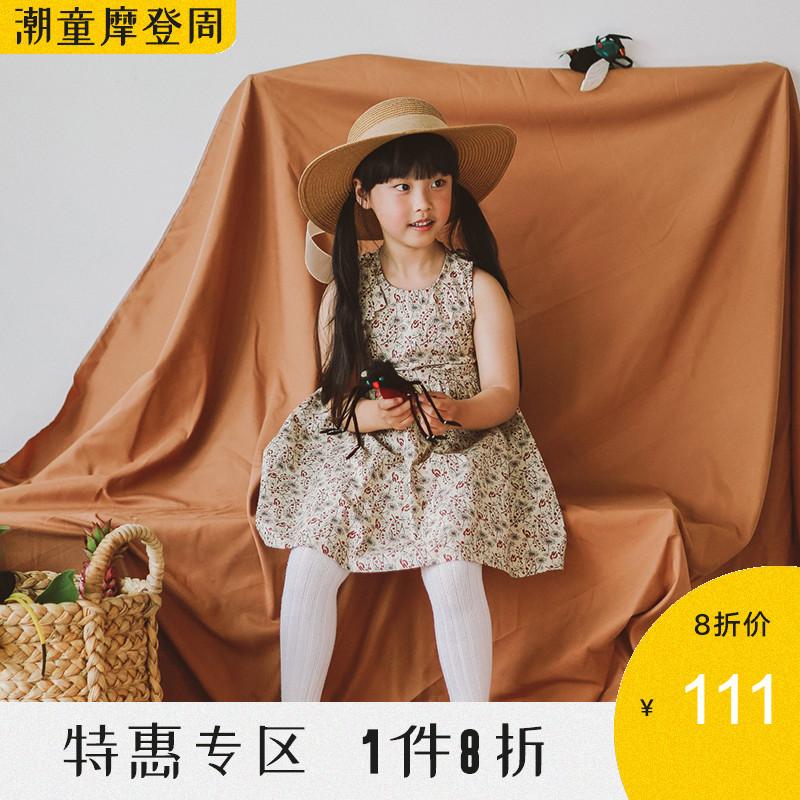 babyONE无袖连衣裙宝宝女童2019年中小童夏装纯棉碎花儿童连衣裙