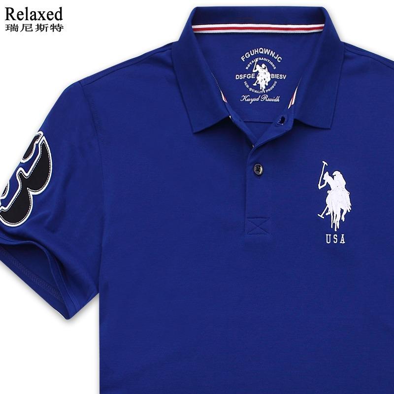 品牌男装短袖T恤翻领USA经典POLO衫保罗带领美国蓝色上衣体恤夏季