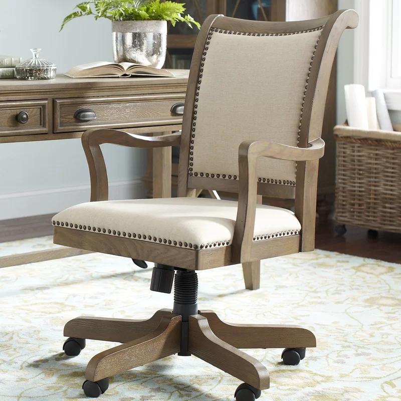美式老板椅实木真皮转椅家用欧式电脑椅办公椅子升降靠背椅主播椅
