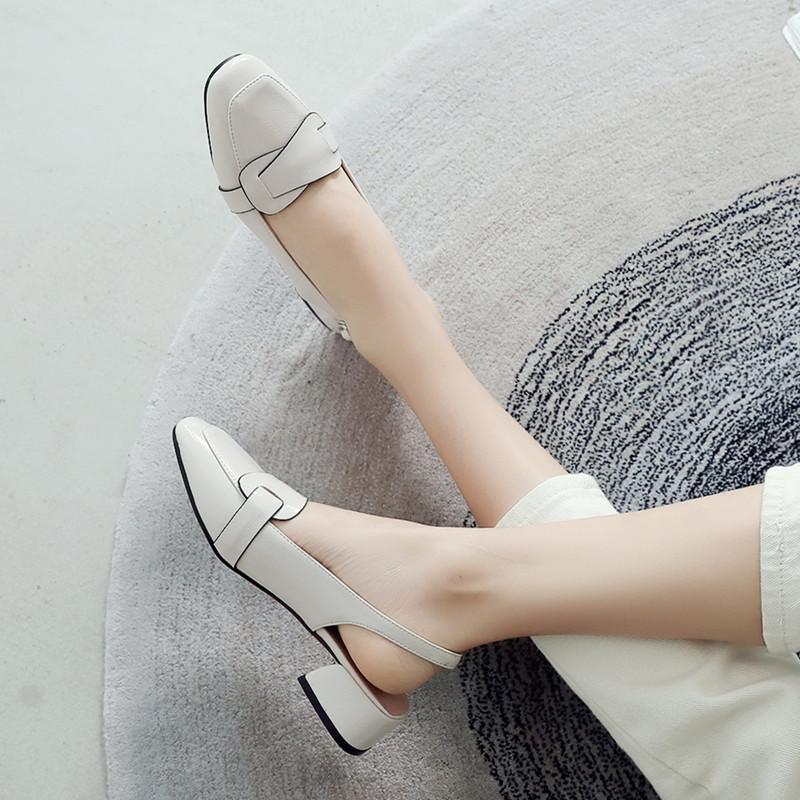 2021新款包头凉鞋女中跟韩版百搭方头单鞋后空粗跟一字扣带女鞋夏