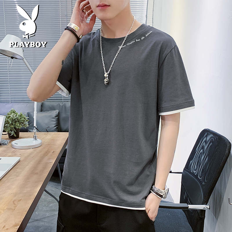 Playboy short sleeve t-shirt men's 2020 summer trend brand loose casual men's half sleeve cotton clothes