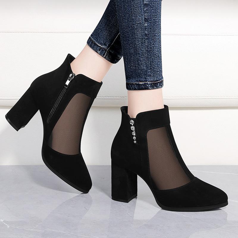 网纱鞋女粗跟妈妈鞋春季2021年新款中年网鞋时尚百搭鞋子高跟单鞋