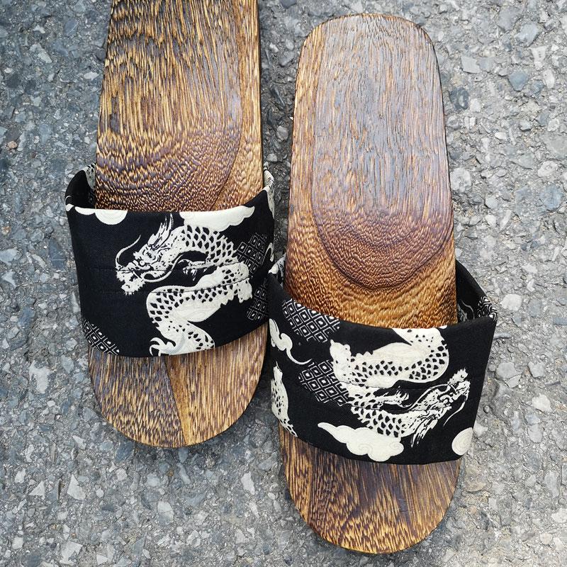 珍凡妮包头一字日本日式厚底防滑橡胶木头木质木屐拖鞋男款男士