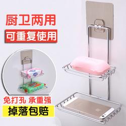 卫生间大号双层强力吸盘肥皂盒浴室壁挂吸壁式不锈钢沥水架香皂盒