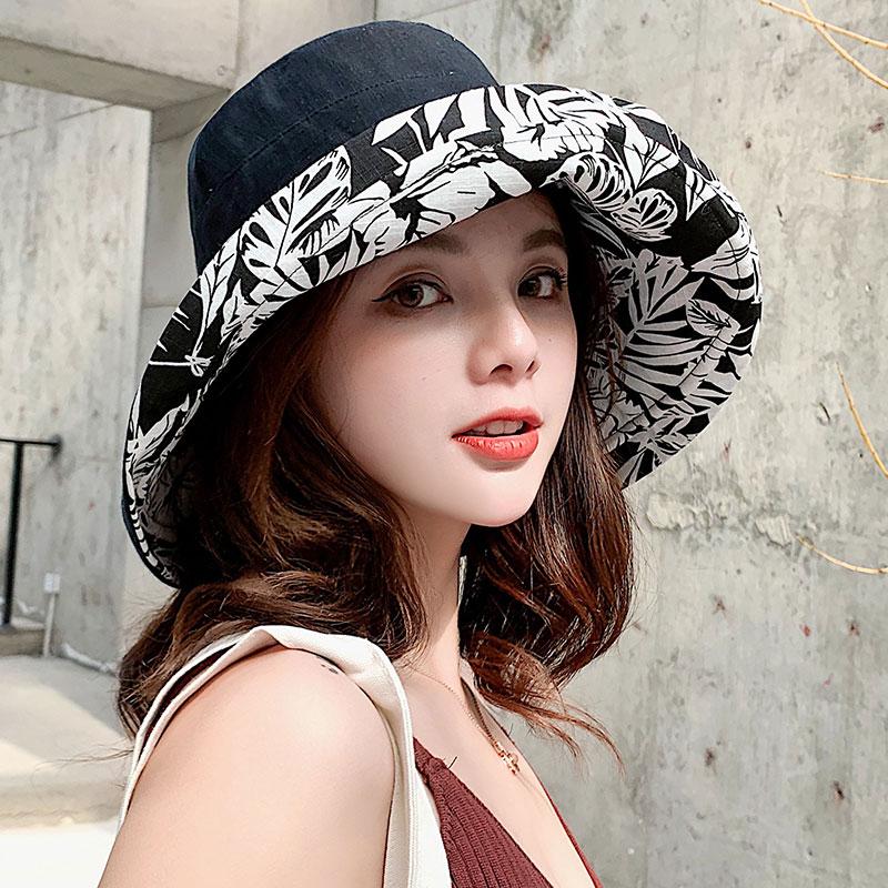 渔夫帽女时尚水墨画双面戴遮阳帽春夏季出游防晒太阳帽可折叠盆帽