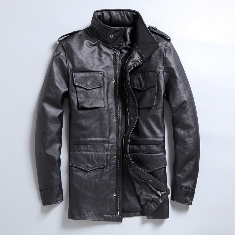 M65 hunting uniform, military leather leather, men's locomotive, vertical lead layer, cow leather, medium and long windbreaker, spring coat