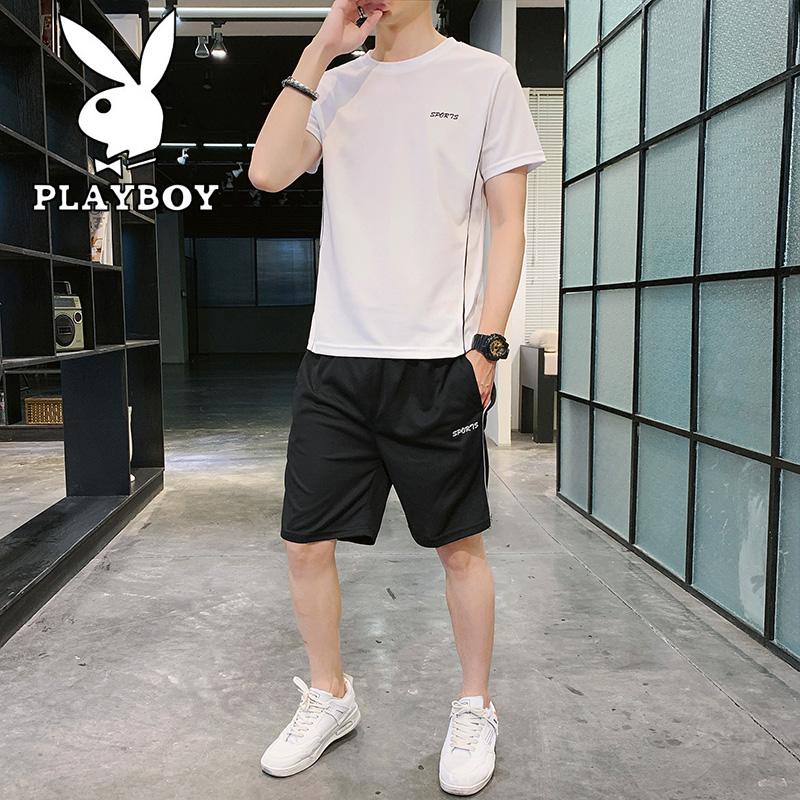 【花花公子】休闲运动套装男2020夏季款户外健身短袖短裤两件套图片