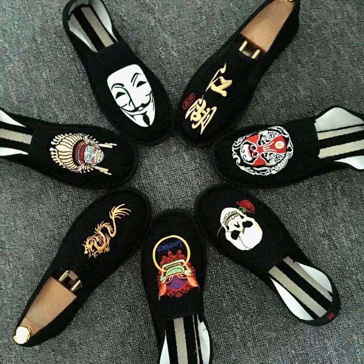 老北京西山布鞋男女社会人刺绣印花豆豆鞋社会鞋社会精神小伙鞋
