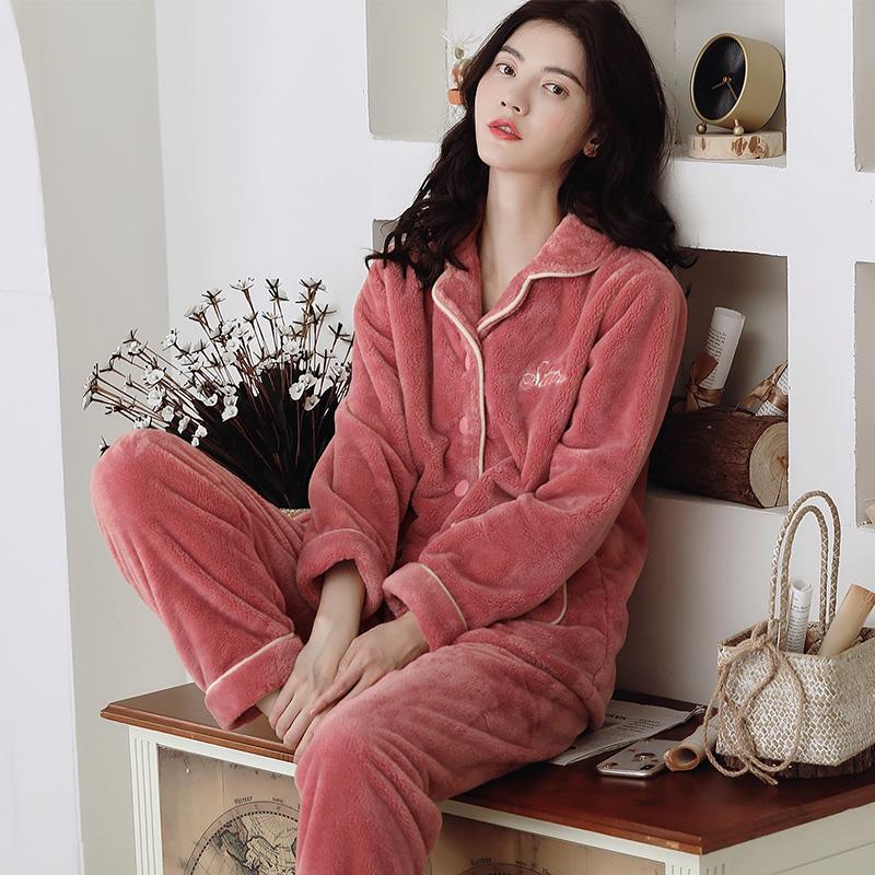 珊瑚绒睡衣女秋冬款法兰绒加厚加绒冬季保暖女士家居服冬天两件套