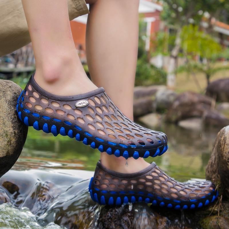 夏季防滑洞洞鞋男女沙滩鞋潮流包头塑料凉鞋休闲凉拖户外涉水男鞋