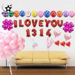 铝膜金属气球铝箔生日快乐爱心字母数字LOVE星星心形布置派对装饰