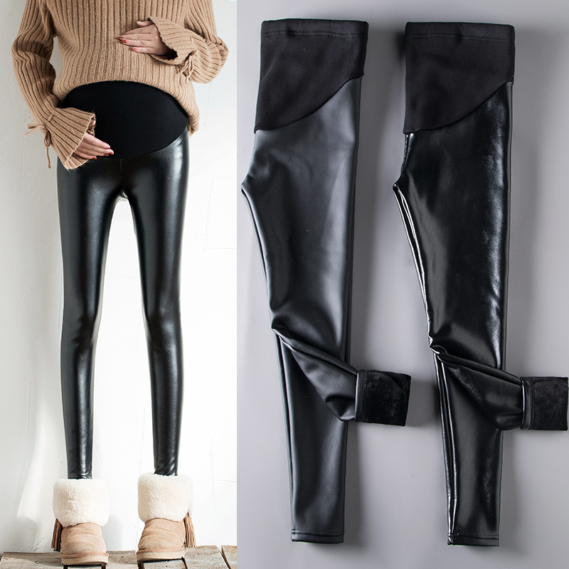 Pregnant womens leather pants in winter Plush thickening 2019 new matte PANTS LEGGINGS for autumn wear warm autumn and winter clothes