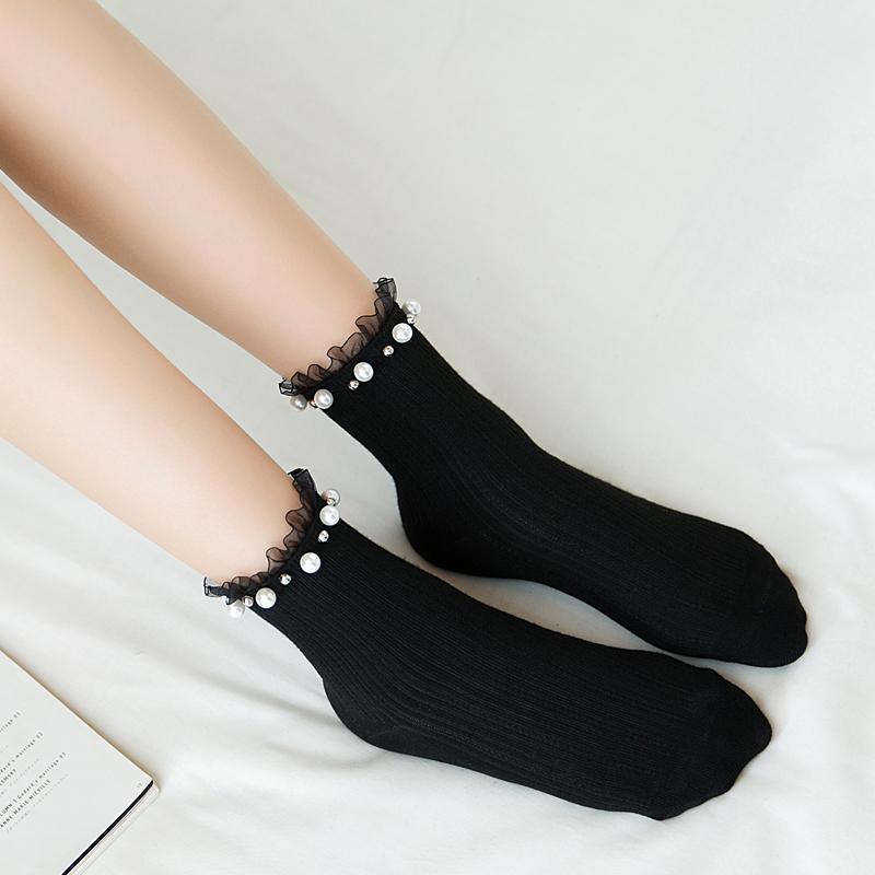 日系袜子女个性珍珠铆钉花边中筒袜12月11日最新优惠