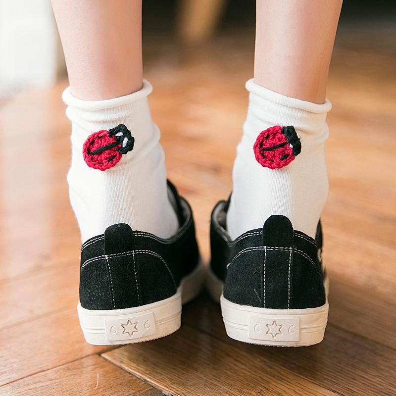 白色袜子女夏季中筒袜日系卷边可爱韩版薄款学院风搞怪秋季中长袜