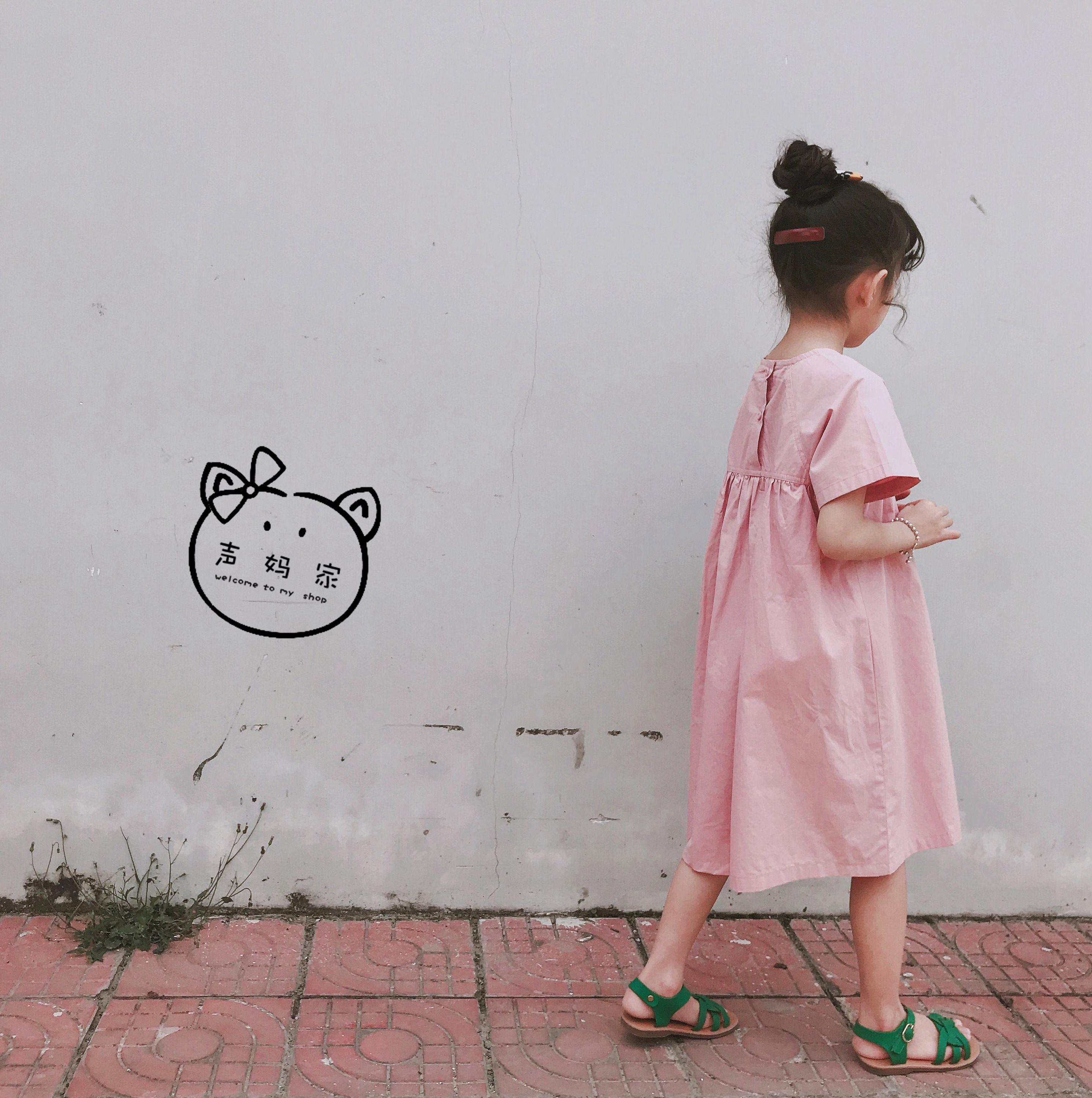 声妈韩国女童夏款纯棉布A字版长款粉色连衣裙简约气质公主裙裙子