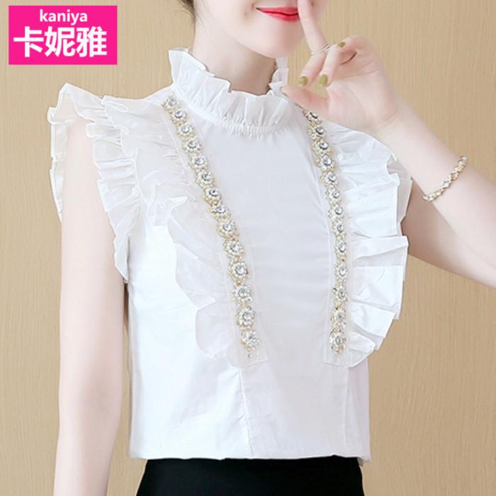 短袖衬衫女夏季2020新款韩版修身显瘦飞飞袖立领荷叶边白色上衣女