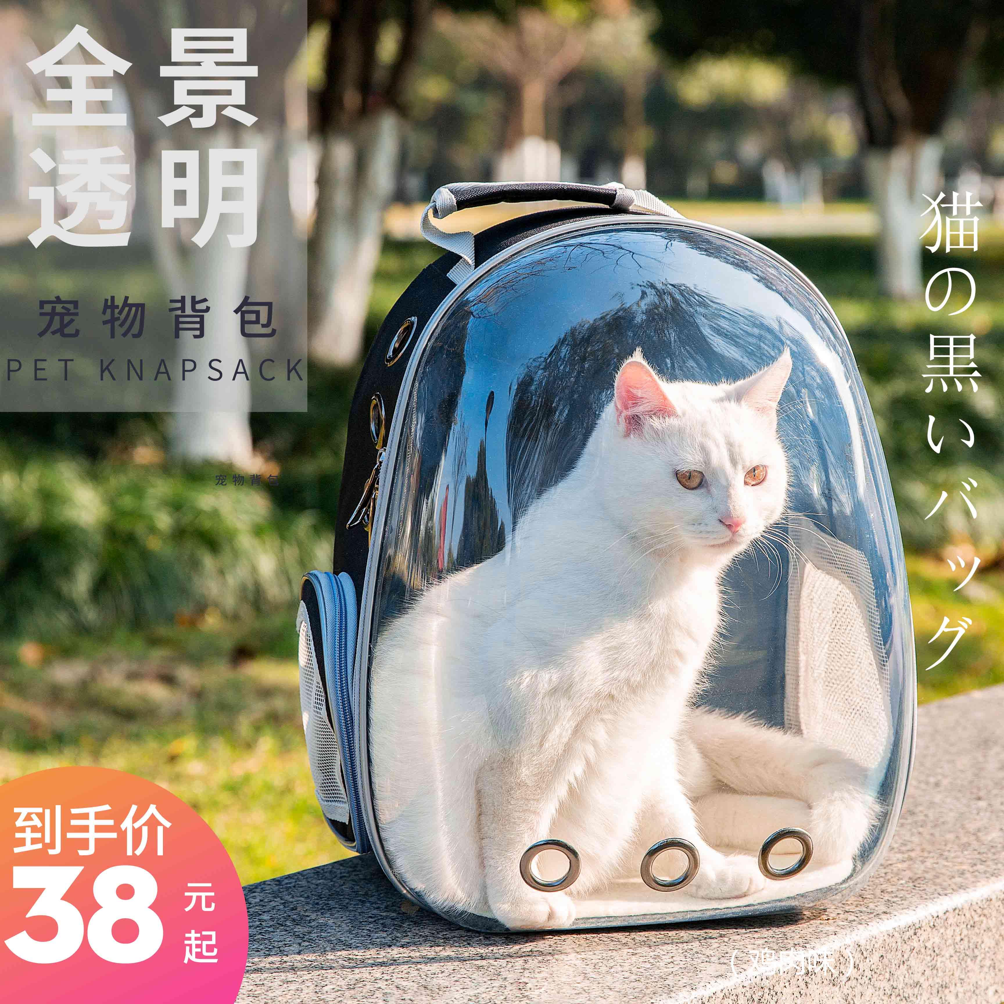 貓包外出籠子便攜太空貓咪艙手提裝包袋大號透明雙肩書包寵物背包