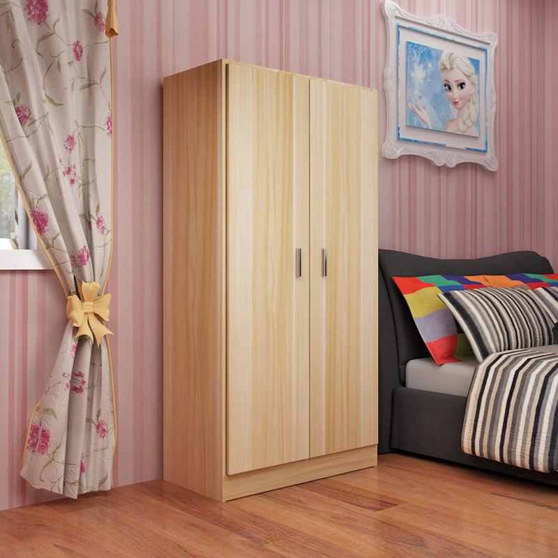 兒童衣柜2門木質組裝儲物柜成人衣櫥經濟型簡約寶寶衣柜出租房