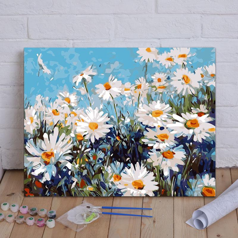 千菊飞客厅卧室风景花卉动漫大幅填色装饰油彩手工绘数字油画DIY