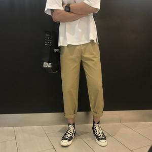 休闲裤男工装裤裤子韩版潮流九分裤夏季直筒宽松薄INS超火的裤子