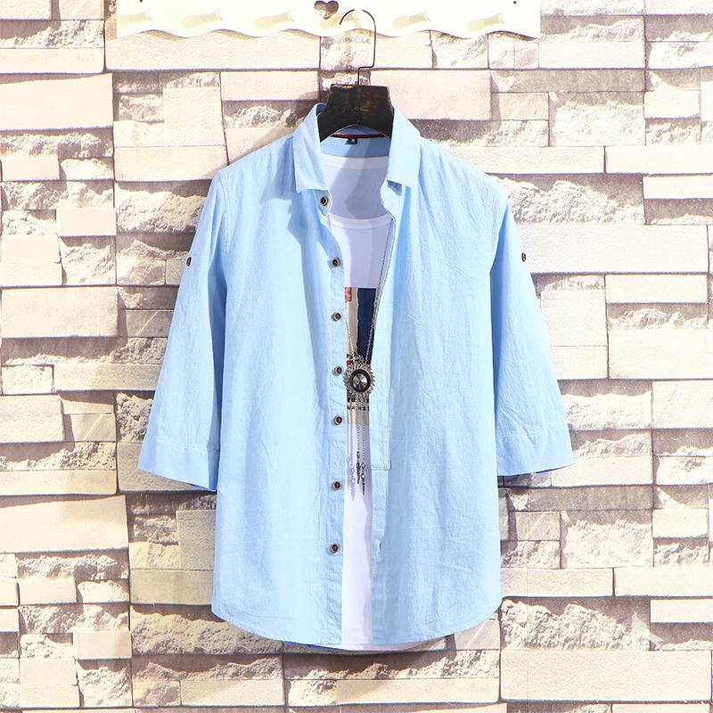 夏季爆款纯棉衬衫男士七分袖韩版衬衣帅气修身寸衫 2002-CS70-P35