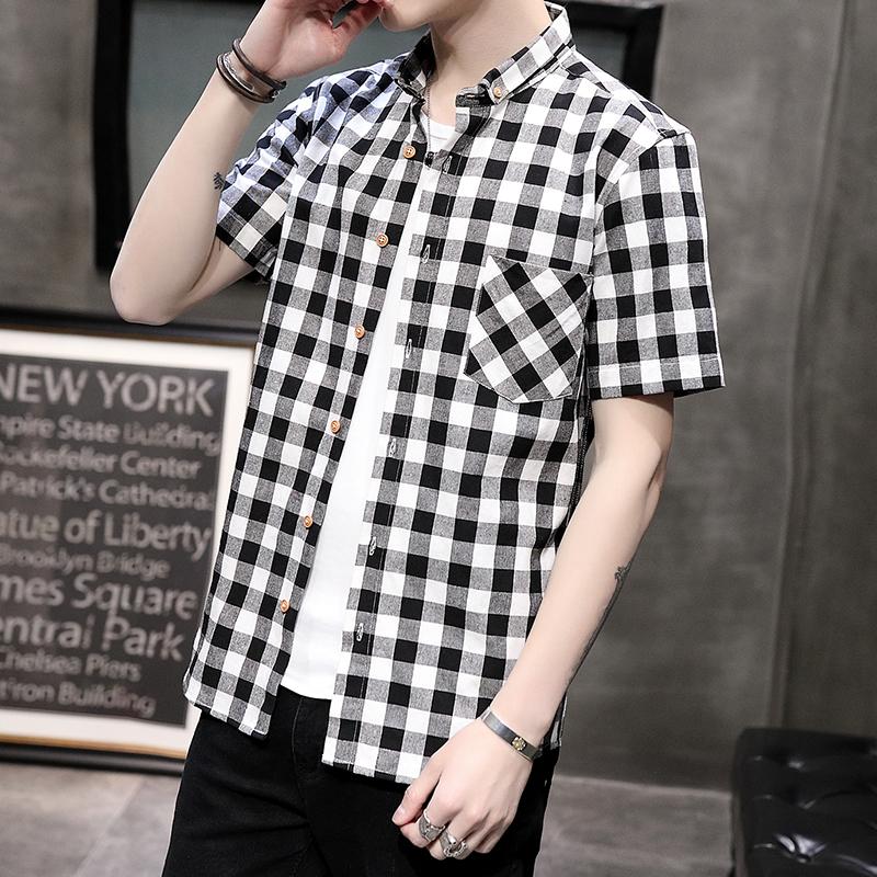 爆款夏季男士格子短袖衬衫韩版修身衬衣青少年寸衫 2002-CS76-P30