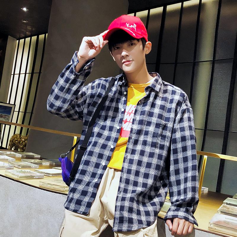 2021爆款男士港风格子衬衫时尚宽松青少年帅气衬衣 2002-CS63-P20