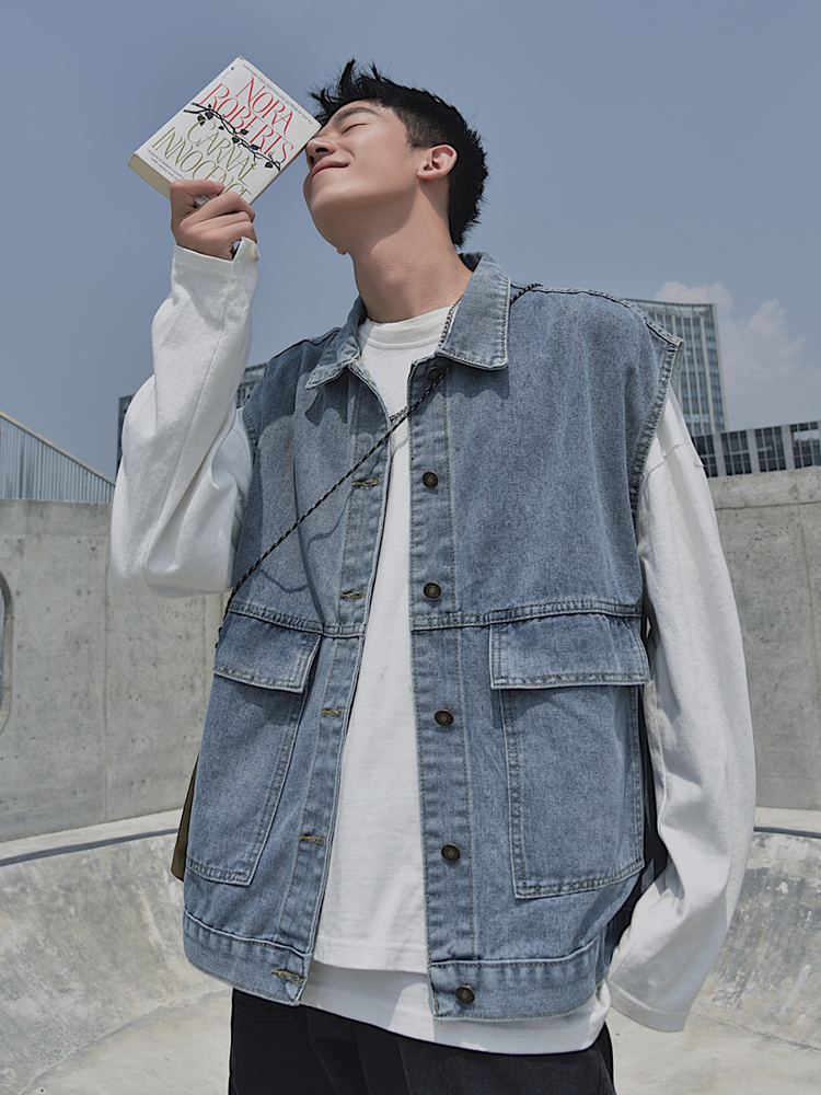 Mens waistcoat spring and autumn thin ins tooling net red summer loose jacket sleeve less Denim Vest