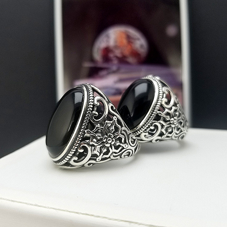 Pure silver ring 925 mens personality trendy hip hop Black Agate Gemstone Ring retro aggressive index ring