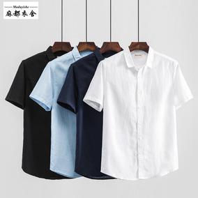 夏季日系休闲方领亚麻短袖男士衬衫