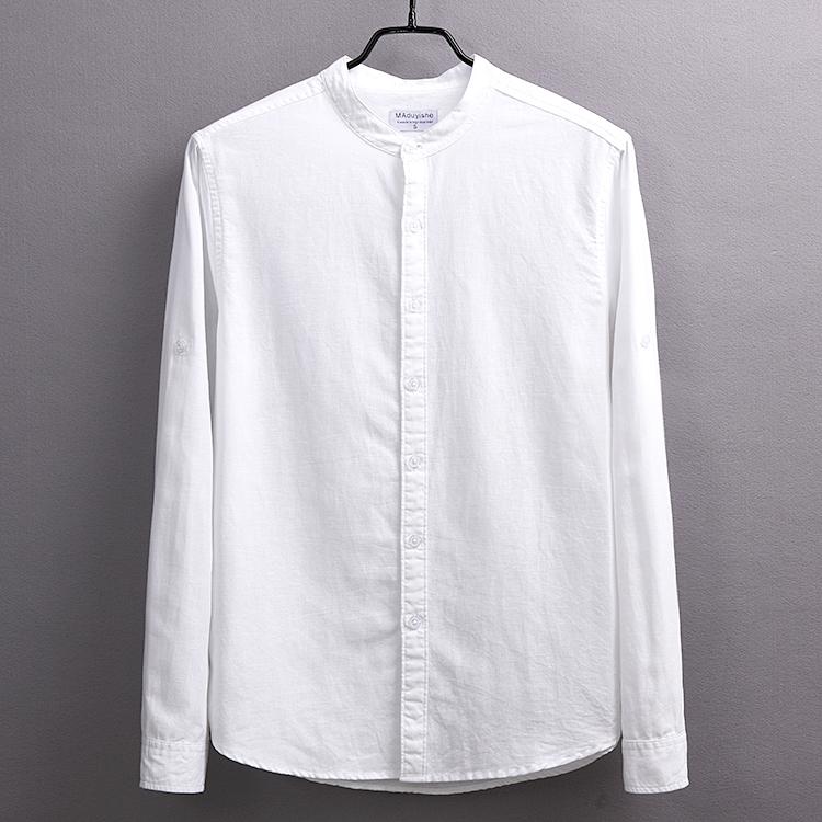 衬衫男长袖圆领亚麻休闲文艺男装大码棉麻上衣修身立领白色衬衣男