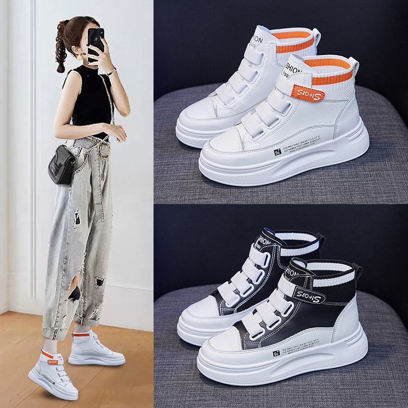 Velcro high top small white shoes girl 2020 autumn new Korean version of versatile student board shoes womens ins Street